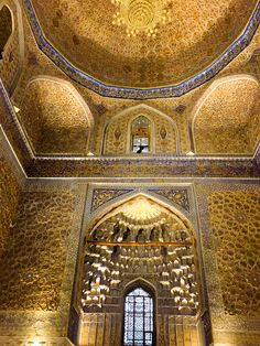 Tilla Kari or gilded mosque in Samarkand. Breathtaking golden interior with oriental design. Travel Uzbekistan, Tour Central Asia