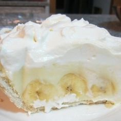 Old Fashioned Southern Banana Cream Pie Recipe ~ Homemade custard in a flakey crust with fresh bananas, topped with whipped cream... Perfect!