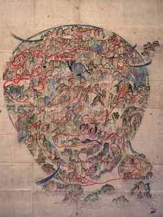Map of Nansenbushu [Early 19th century] the human world as perceived through Buddhist philosophy, is limited to the confines of just three countries: India, China and Japan.