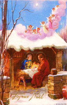 Joyeux Noël - Des anges roses et blancs descendent d'un nuage sur le toit de l'étable où Joseph et Marie veillent sur l'Enfant Jésus sur une mangeoire - 1948 (from http://mercipourlacarte.com/picture?/1271/)