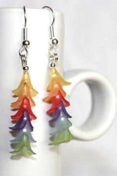 Rainbow Lucite Flower Earrings
