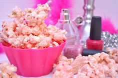 cancer awareness popcorn :) popcorn, marshmallows, crumbled golden oreos, tossed with pink melted melties <3