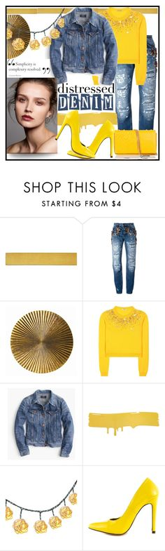 """Distressed Denim"" by jeneric2015 ❤ liked on Polyvore featuring WALL, Dolce&Gabbana, Arteriors, Miu Miu, J.Crew, Dot & Bo, Michael Antonio, Braccialini and distresseddenim"