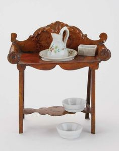 English painted tin wash stand with porcelain basin, pitcher, and 3 bowls, by Evans and Cartwright, circa Miniature Furniture, Doll Furniture, Dollhouse Dolls, Dollhouse Miniatures, Antique Toys, Vintage Toys, Doll Accessories, House Accessories, Old Fashioned Toys