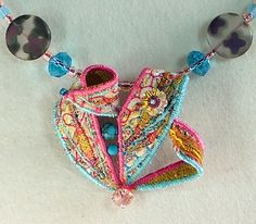 Textile jewellery neckpiece in pastel pink and blue, Waiyuk Kennedy