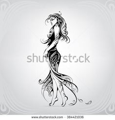 Find Girl Dress Decorative Pattern stock images in HD and millions of other royalty-free stock photos, illustrations and vectors in the Shutterstock collection. Leg Tattoos, Body Art Tattoos, Tribal Tattoos, Art Sketches, Art Drawings, Diy Craft Journal, Learn To Sketch, Figure Sketching, Girl Silhouette