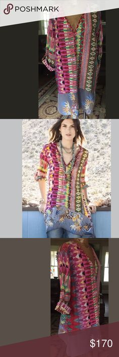 Johnny Was Kamelia Tunic XL Gorgeous mix Print cotton Tunic by Johnny Was in bright colors size XL Johnny Was Tops