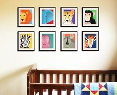 Safari nursery decor, jungle theme nursery ideas. Boy nursery artwork. Art for children, kids art, nursery art. Any 3 8x10 prints. $37.00, via Etsy.