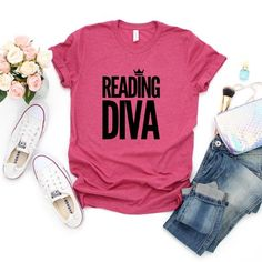 Book T-Shirt, Reading Shirt, School Librarian Gifts, Bookish Graphic Tee, Bookish Gift For Her, Book Lover Shirt, Reading Diva Shirt
