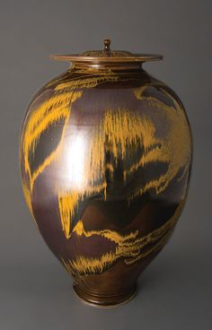 Brother Thomas, large vase with 2 covers, iron yellow glaze, porcelain, 24 x 15 x 15""