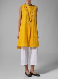 PLUS Clothing - Linen Sleeveless A Line Long Tunic