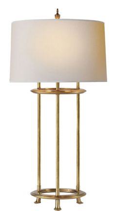 Large Jayson Table Lamp in Hand-Rubbed Antique Brass with Natural Paper Shade