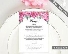 Modern Wedding Menu Template Printable Wedding Menu Rustic