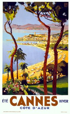 Cannes, Cote d'Azur  'Summer, Winter' by Peri  c.1930s  http://www.vintagevenus.com.au/vintage/reprints/info/TV229.htm