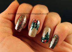Day 3: Blingy holly from Claire at Nuthin But A Nail Thing