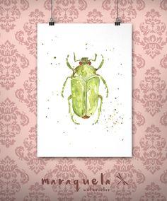Art Print Green Beetle Watercolor - Art decor, handmade, watercolor, painting, butterfly. Escarabajo hecho a mano.Técnica acuarela