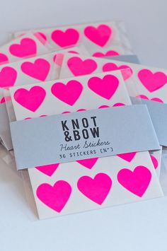 NEW - 36 Neon Pink Heart Stickers - FREE SHIPPING. $4,00, via Etsy.