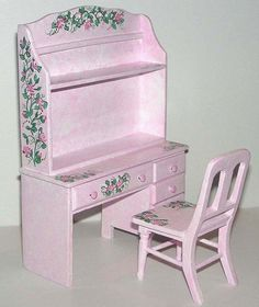 Dollhouse Miniature Artisan Hand Painted Desk Chair Pink Cottage Chic Signed