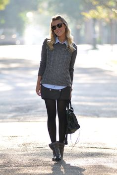 Blue button up shirt with gray cable knit sweater