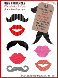 FREE mustache and lips printables for Valentine photo booth