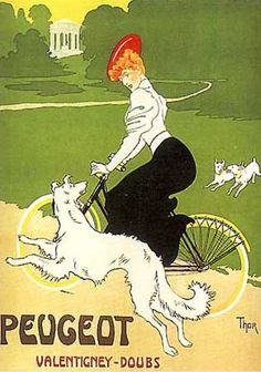Peugeot vintage advertising poster by Thor (1900)