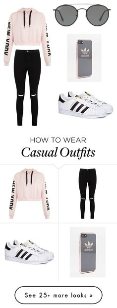 """Casual x"" by danielle-colescoles on Polyvore featuring Boohoo, adidas and Ray-Ban"