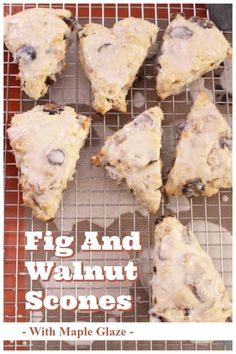 These buttery Fig and Walnut Scones topped with a sweet Maple Glaze are easy to make and perfect for breakfast or as an afternoon treat. Dried Fig Recipes, Dried Figs, Fresh Figs, Savory Scones, Breakfast Recipes, Scone Recipes, Breakfast Time, Bread Recipes, Maple Glaze