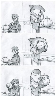 Carving Shark by RobtheDoodler on DeviantArt - Best Adorable Animals Cute Comics, Funny Comics, Furry Art, Funny Animals, Cute Animals, Art Mignon, Cute Shark, Arte Obscura, Cute Drawings