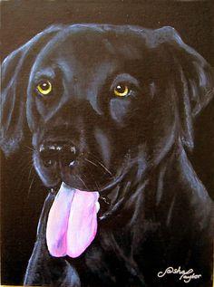 Oil on canvas board. Black labrador by Sasha Taylor