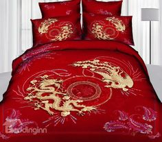 Chinoiserie Chinese Style Exquisite Dragon And Phoenix Print Red - Chinese dragon comforter set