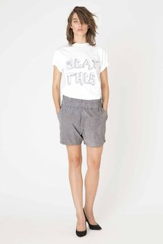 Ultra Light Jersey T-shirt & Melvina Suede shorts from Ganni Spring/Summer collection. Suede Shorts, Trouser Pants, Ss 15, Summer Collection, Bermuda Shorts, Spring Summer, Denim, Skirts, T Shirt