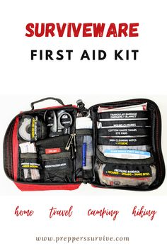 Home, hiking, camping, travel first aid kit. Compact first aid kit. Fits into your car's glove box. MOLLE compatible straps. Basic First Aid Kit, Diy First Aid Kit, Hurricane Preparedness, Emergency Preparedness Kit, Hiking First Aid Kit, 72 Hour Kits, Safety Topics, Urban Survival, Group