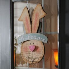 Wooden Boy Bunny Welcome Plaque | Kirkland's