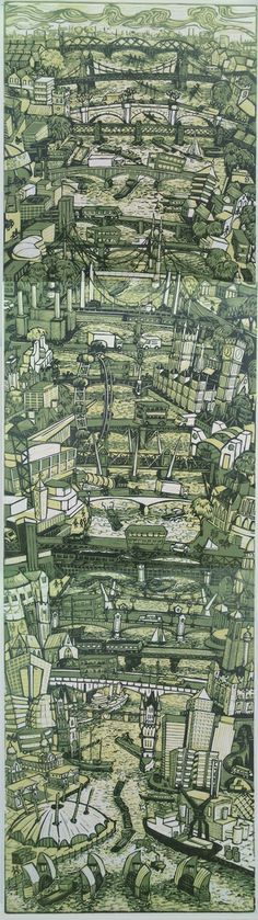 Tobias Till - London Bridges - Linocut print on fine art paper Signed and editioned by the artist Edition of 35 Cities, Rise Art, Moleskine, London Art, Wood Engraving, Linocut Prints, Urban Landscape, Aerial View, Travel Posters