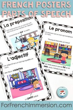 Want a visual reference tool for your students to identify parts of speech in French? Check out this set of French posters for your kids learning French as a second language. For French Immersion and Core French classrooms. French grammar. AFFICHES: Les classes de mots (le nom, l'adjectif, la conjonction, le verbe, la préposition, le pronom, l'adverbe, le déterminant) French Teaching Resources, Teaching French, Core French, French Grammar, French Classroom, French Teacher, French Immersion, Parts Of Speech, Second Language