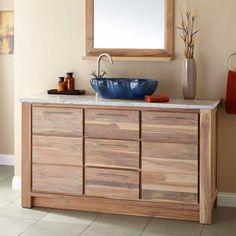 """60"""" Venica Teak Single Vessel Sink Vanity - Whitewash - Vessel Sink Vanities - Bathroom Vanities - Bathroom"""