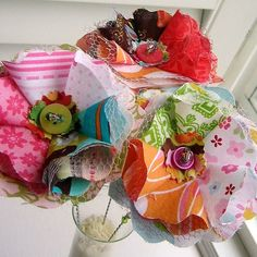 fabric scrap flowers