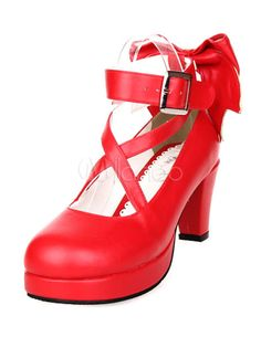 387b10c394f Sweet Platform Heels Lolita Shoes Ankle Straps Bow Deco Round Toe  Lolita