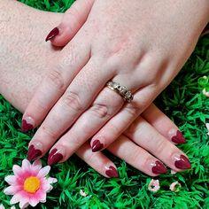 Burgundy heart tip nail art! www.kawaiiklaws.com Heart Tip Nails, Nail Tips, Burgundy, Wedding Rings, Nail Art, Kawaii, Engagement Rings, Jewelry, Enagement Rings
