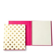 """Featuring whimsical designs and fun colors, kate spade new york's spiral-bound book adds a cheerful note to the workweek. 