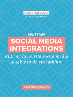 Check out all my favourite social media plugins that I use in my WordPress site. Plugins include: Facebook, Twitter, Instagram, Pinterest and Periscope