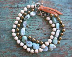 Boho wrap bracelet - Country Walk - boho western jewelry, artisan sterling silver, hearts, turquoise, Swarovski pearls, cream, leather