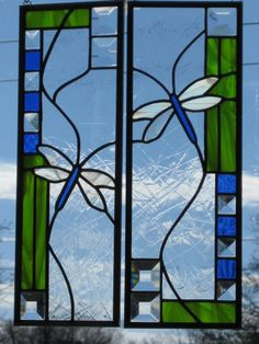 Dragonfly Duo Stained Glass Panel by DianeRinebold on Etsy, $135.00