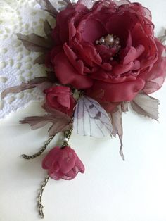Fabric flower brooch Burgundy vintage flower Flower boho