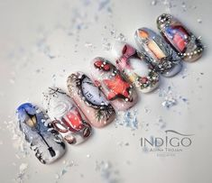 Gorgeous Nails, Pretty Nails, Gel Nail Art, Acrylic Nails, Indigo Nails, Chabby Chic, Nail Shop, Christmas Nail Art, Winter Nails
