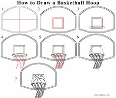 How To Draw A Basketball Hoop Step Drawing Tutorial With Pictures Cool2bkids Basketball Drawings Sports Drawings Drawing Tutorial