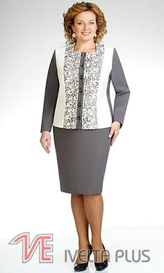 Модели для шикарных женщин. Обсуждение на LiveInternet - Российский Сервис… Mob Dresses, Plus Size Dresses, Casual Dresses, Big Girl Fashion, Womens Fashion, Classy Suits, Plus Size Fashionista, Beautiful Suit, Western Dresses