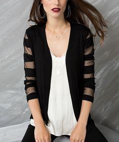 This Black Mesh-Stripe Open Cardigan is perfect! #zulilyfinds