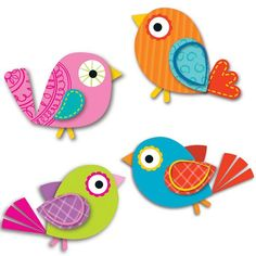 Express your sense of style by decorating your classroom with the contemporary Boho Birds assorted mini Colorful Cut-Outs(R). This multipurpose set features 36 bird cut-outs in a variety of colors tha Vbs Crafts, Preschool Crafts, Easter Crafts, Craft Activities, Art For Kids, Crafts For Kids, Arts And Crafts, Cubby Tags, Paper Birds