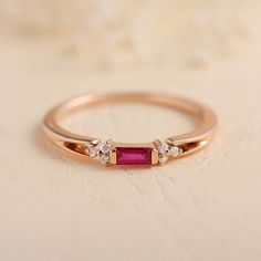Baguette Ruby Ring Rose Gold Diamond Cluster July Birthstone